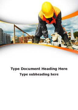 Builder On Construction Site Portrait Word Template, Cover Page, 09566, Construction — PoweredTemplate.com