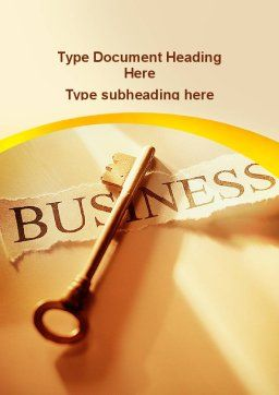 Key Of Business Word Template, Cover Page, 09570, Business — PoweredTemplate.com