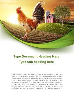 Morning At The Farm Word Template, Cover Page, 09579, Agriculture and Animals — PoweredTemplate.com