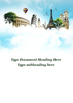 Vacation In Europe Word Template, Cover Page, 09585, Holiday/Special Occasion — PoweredTemplate.com