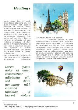 Vacation In Europe Word Template, First Inner Page, 09585, Holiday/Special Occasion — PoweredTemplate.com