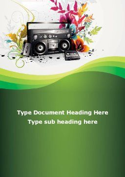 Vintage Boombox Word Template Cover Page