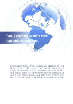 Blue Globe Silhouette Word Template Cover Page