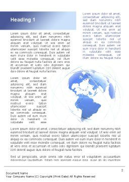 Blue Globe Silhouette Word Template First Inner Page