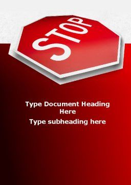 Stop Road Sign Word Template, Cover Page, 09606, Consulting — PoweredTemplate.com