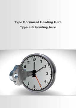 Key To Time Management Word Template, Cover Page, 09609, Business Concepts — PoweredTemplate.com