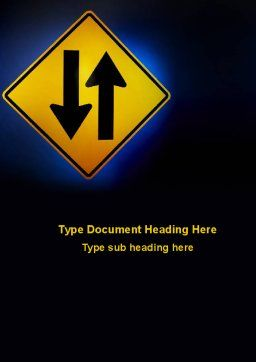 Two-Way Traffic Word Template, Cover Page, 09622, Consulting — PoweredTemplate.com