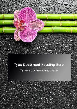 Orchid On Bamboo Word Template, Cover Page, 09637, Nature & Environment — PoweredTemplate.com