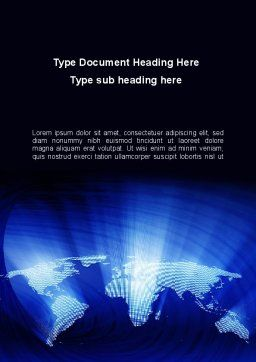 World Map In Blue Word Template Cover Page