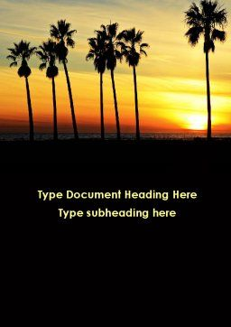 Sunset On The Tropic Island Word Template, Cover Page, 09639, Holiday/Special Occasion — PoweredTemplate.com