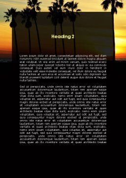 Sunset On The Tropic Island Word Template, Second Inner Page, 09639, Holiday/Special Occasion — PoweredTemplate.com