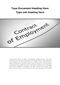 Contract Of Employment Word Template, Cover Page, 09645, Legal — PoweredTemplate.com