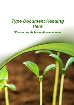 Young Shoots Word Template, Cover Page, 09650, Agriculture and Animals — PoweredTemplate.com