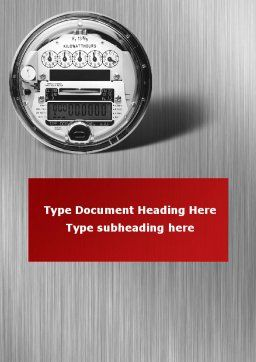 Electric Meter Word Template, Cover Page, 09654, Utilities/Industrial — PoweredTemplate.com