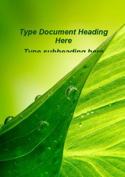 Green Leaf With Dew Word Template, Cover Page, 09659, Nature & Environment — PoweredTemplate.com
