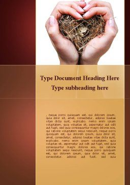 Bird's Nest Word Template, Cover Page, 09662, Nature & Environment — PoweredTemplate.com