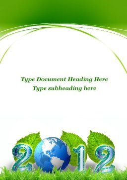 2012 Green Year Word Template Cover Page
