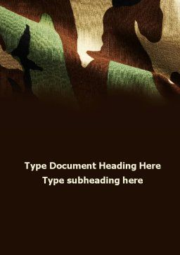 Woodland Camouflage Word Template, Cover Page, 09675, Military — PoweredTemplate.com