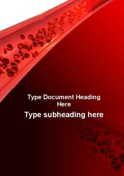 Red Blood Cells In A Blood Vessels Word Template, Cover Page, 09680, Medical — PoweredTemplate.com
