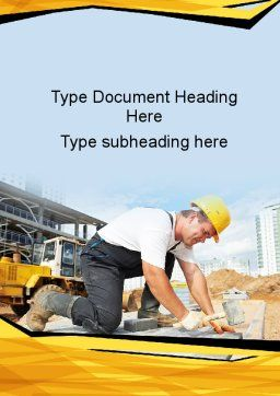 House Builder On Construction Site Word Template, Cover Page, 09684, Construction — PoweredTemplate.com