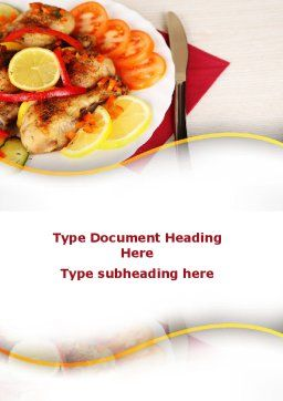 Fried Chicken Word Template, Cover Page, 09689, Food & Beverage — PoweredTemplate.com