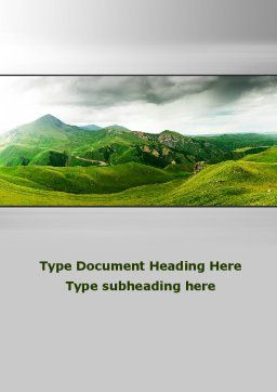 Clouds Landscape Word Template, Cover Page, 09696, Nature & Environment — PoweredTemplate.com
