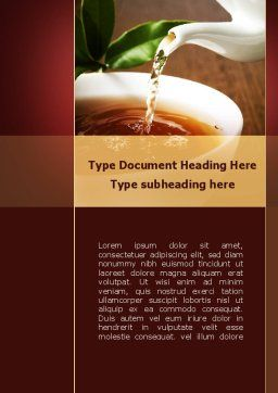 Stream Of Tea Word Template, Cover Page, 09698, Food & Beverage — PoweredTemplate.com