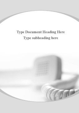 Telephone Handset Word Template, Cover Page, 09700, Telecommunication — PoweredTemplate.com