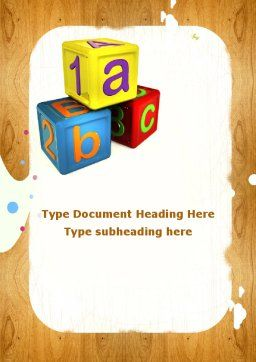 Cubes For Basic Education Word Template Cover Page