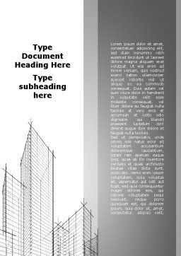 Sketch Of Skyscraper Word Template, Cover Page, 09705, Construction — PoweredTemplate.com