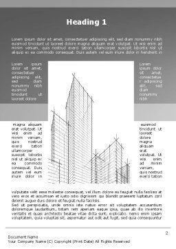 Sketch Of Skyscraper Word Template, First Inner Page, 09705, Construction — PoweredTemplate.com