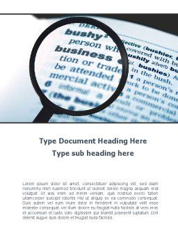 Definition of Business Word Template, Cover Page, 09709, Business — PoweredTemplate.com