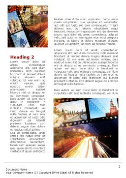 Moscow In Russia Word Template First Inner Page
