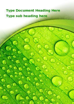 Green leaflet In Drops Of Dew Word Template Cover Page
