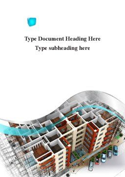 Model Of Apartment House Word Template, Cover Page, 09736, Construction — PoweredTemplate.com