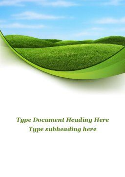 Green Fields Word Template, Cover Page, 09745, Nature & Environment — PoweredTemplate.com