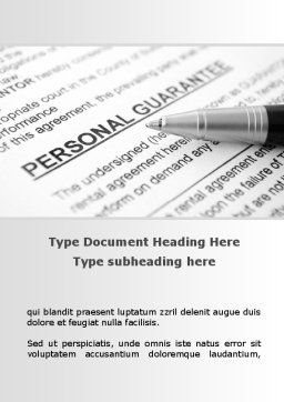 Personal Guarantee Word Template, Cover Page, 09749, Legal — PoweredTemplate.com