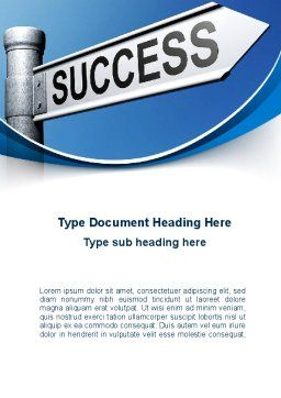 Way To Success Word Template, Cover Page, 09753, Consulting — PoweredTemplate.com