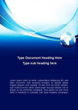 Abstract Blue With Globe Word Template, Cover Page, 09765, Global — PoweredTemplate.com