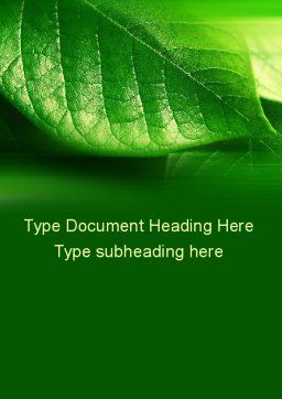 Shiny Green Leaf Word Template, Cover Page, 09768, Nature & Environment — PoweredTemplate.com