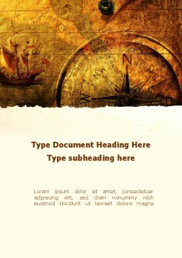 Ancient Map With Compass Word Template, Cover Page, 09769, America — PoweredTemplate.com