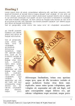 Key Of Teamwork Word Template, First Inner Page, 09779, Business Concepts — PoweredTemplate.com