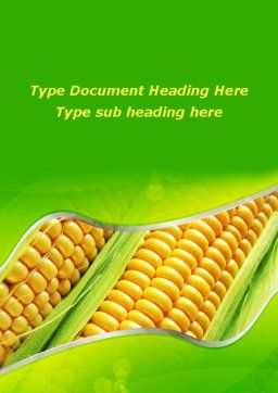 Ear Of Corn Word Template, Cover Page, 09782, Agriculture and Animals — PoweredTemplate.com