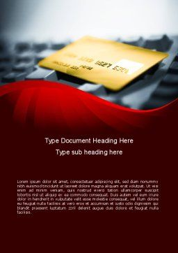 Credit Card On the Keyboard Word Template Cover Page