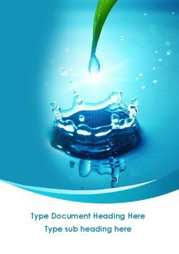 Dew Drops Falling With Splash Word Template Cover Page