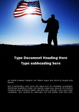 Flag of the USA Word Template, Cover Page, 09787, Flags/International — PoweredTemplate.com
