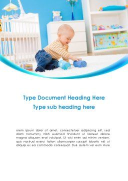 Baby Playing Home Word Template Cover Page