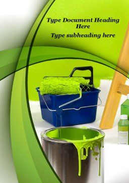 Green Paint Cun Word Template Cover Page