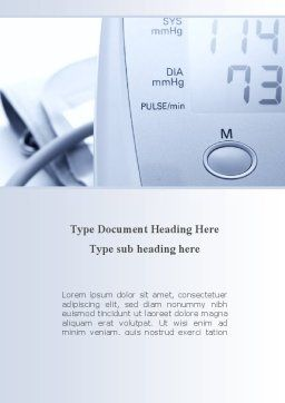 Device For Measuring Pressure Word Template, Cover Page, 09808, Medical — PoweredTemplate.com