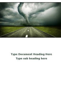 Tornado On The Road Word Template, Cover Page, 09821, Nature & Environment — PoweredTemplate.com